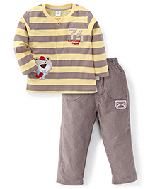 ToffyHouse Full Sleeves 74 Baby Player Embroidered Striped T-Shirt And Corduroy Pant Set - Lemon & Light Brown