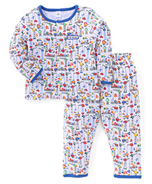 ToffyHouse Full Sleeves Night Suit With Multi Print - Blue & White