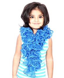 Magic Needles Girls Handknitted Frill Scarf - Dark Blue