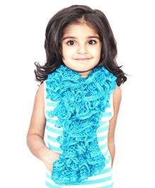 Magic Needles Girls Handknitted Frill Scarf - Light Blue