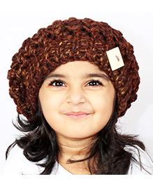 Magic Needles Girls Handknitted Netted Beanie - Brown