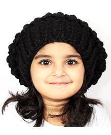 Magic Needles Girls Handknitted Netted Beanie - Black