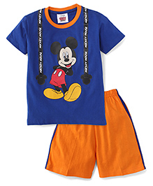 Eteenz Half Sleeves T-Shirt And Shorts Mickey Mouse Print - Royal Blue & Orange
