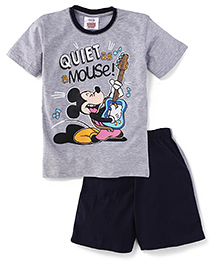 Eteenz Half Sleeves T-Shirt And Shorts Mickey Mouse With Guitar Print - Grey & Navy Blue