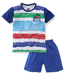 Eteenz Half Sleeves T-Shirt And Shorts Mickey Mouse Patch - Blue White Red