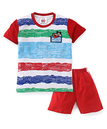 Eteenz Half Sleeves T-Shirt And Shorts Mickey Mouse Patch - White & Red