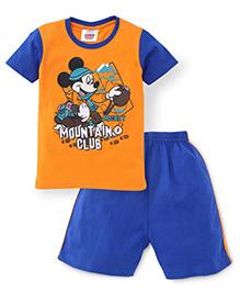 Eteenz Half Sleeves T-Shirt And Shorts Set Mickey Print - Orange Blue