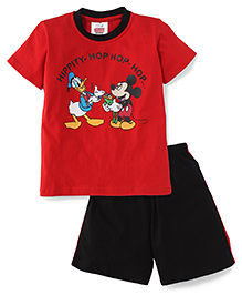 Eteenz Half Sleeves T-Shirt And Shorts Mickey & Donald Print - Red And Black