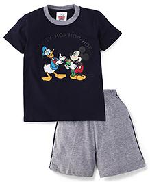 Eteenz Half Sleeves T-Shirt And Shorts Mickey & Donald Print - Navy And Grey