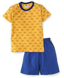 Eteenz Half Sleeves T-Shirt And Allover Print - Yellow & Royal Blue