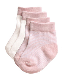 Playette Preemie Fashion Socks Pink And White - Pack Of 2