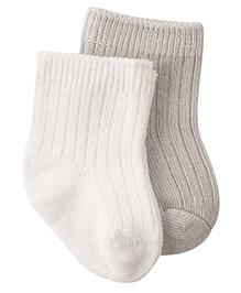 Playette Preemie Bamboo Socks White Grey - Pack Of 2