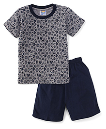 Eteenz Half Sleeves T-Shirt And Allover Print - Grey & Navy Blue