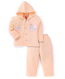 Spark Full Sleeves Hooded T-Shirt And Pant With Embroidery - Peach