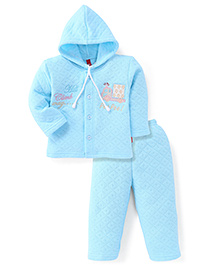 Spark Full Sleeves Hooded T-Shirt And Pant With Embroidery - Blue