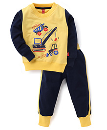 Spark Full Sleeves Printed T-Shirt And Leggings - Yellow Babyhug Full Sleeves Printed T-Shirt And Leggings - Navy Yellow