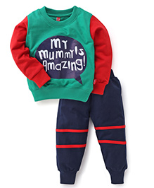 Spark Full Sleeves Printed T-Shirt And Leggings - Green Navy Red