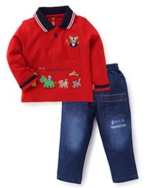 Spark Full Sleeves Embroidered T-Shirt And Trousers - Red & Blue