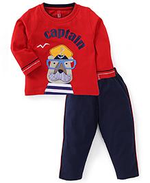 Spark Full Sleeves Captain Print T-Shirt And Leggings - Red & Navy