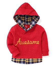 Spark Full Sleeves Hooded Sweatshirt Awesome Print - Red