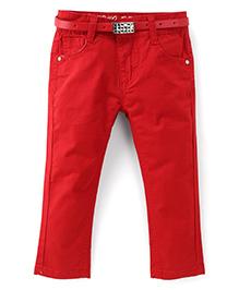 Bambini Stylish Denim Pant With Belt - Red