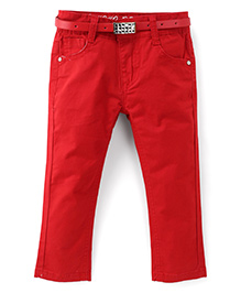 Bambini Kids Stylish Denim Pant With Belt - Red
