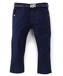 Bambini Stylish Denim Pant With Belt - Navy Blue