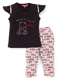 Valentine Cap Sleeves Top And Pajama Bear Embroidery - Dark Brown