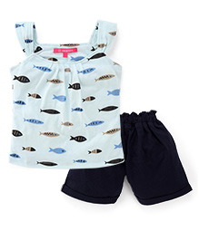 Valentine Sleeveless Top And Shorts Fish Print  - Aqua Green Navy
