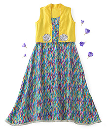 Kids Chakra Sleeveless Aztec Dress With Shrug Flower Appliques - Green Yellow
