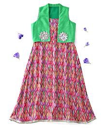 Kids Chakra Sleeveless Aztec Dress With Shrug Flower Appliques - Pink Green
