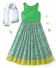 Kids Chakra Sleeveless Choli And Lehenga With Dupatta - Green White