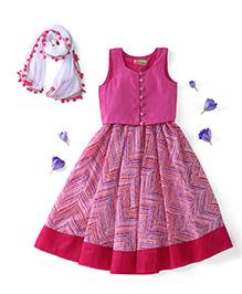 Kids Chakra Sleeveless Choli And Lehenga With Dupatta - Pink White