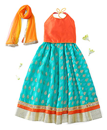 Kids Chakra Halter Neck Choli And Lehenga With Dupatta - Green Orange