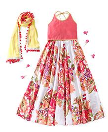 Kids Chakra Halter Neck Choli And Lehenga With Dupatta Floral Print - Off White Yellow