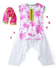 Kids Chakra Short Sleeves Kurti And Patiala With Dupatta Floral Print - Pink White