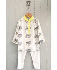 Frangipani Jaipuri Elephant Print Kurta & Pyjama Set - Off White