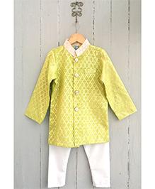 Frangipani Brocade Kurta & Pyjama Set - Yellow And White