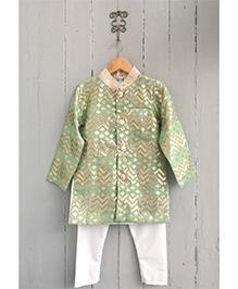 Frangipani Full Sleeves Kurta & Pyjama Set - Green And White
