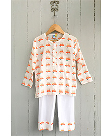 Frangipani Football Print Night Suit - Orange And White