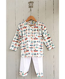 Frangipani Full Sleeves Night Suit Boat Print - Multi Color