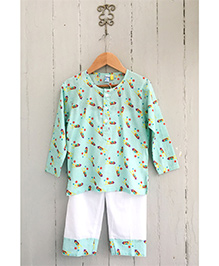 Frangipani Full Sleeves Night Suit Firecracker Print - Green And White