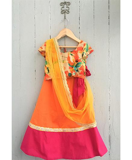 Frangipani Floral Print Ghagra With Blouse - Orange