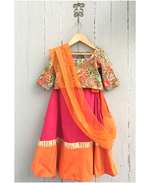 Frangipani Ghagra With Blouse Floral Print - Orange And Pink