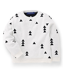 Bambini Kids Stylish Triangle Print Sweater - White & Black