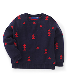 Bambini Kids Stylish Triangle Print Sweater - Dark Blue