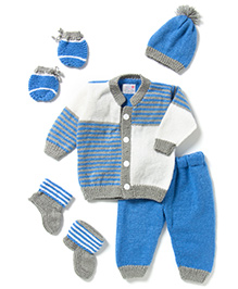 The Original Knit Striped Knitted Sweater Cap Pyjama & Booties Set - Blue & White