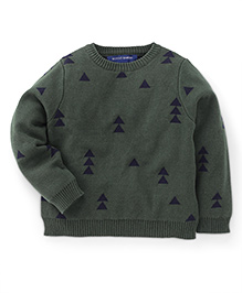 Bambini Kids Stylish Triangle Print Sweater - Green