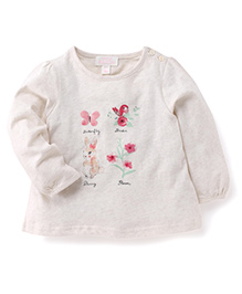 Pumpkin Patch Full Sleeves Top Butterfly And Bunny Print - Cream