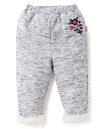Pumpkin Patch Full Length Track Pant Floral Embroidery - Grey